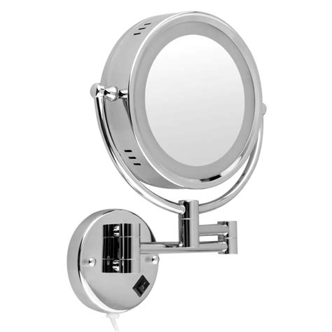 wall mounted lighted magnifying bathroom mirror makeup cosmetic mirror 10x magnifying lighted swivel stand