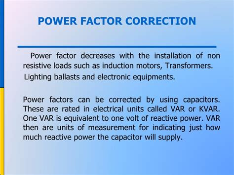 induction generator power factor correction power management in bms