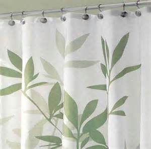 Green Shower Curtains by 72 Quot Leaves Green And White Fabric Shower Curtain
