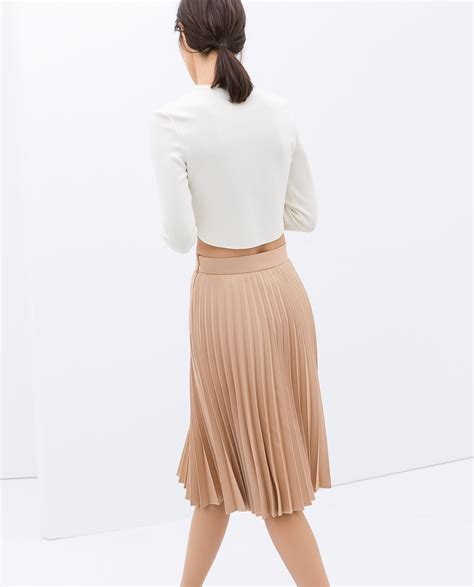 Zara Skirt zara coated pleated skirt in pink lyst