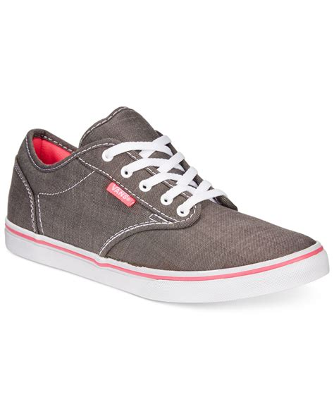 up sneakers lyst vans s atwood low lace up sneakers in gray