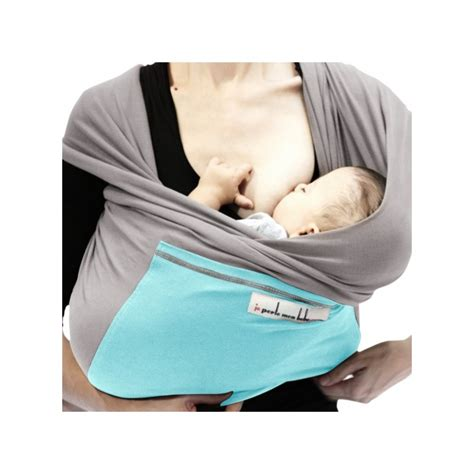 je porte mon bebe achat echarpe jpmbb gris clair poche turquoise