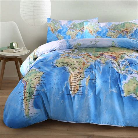 Linen Duvet Set World Map Bedding Promotion Shop For Promotional World Map
