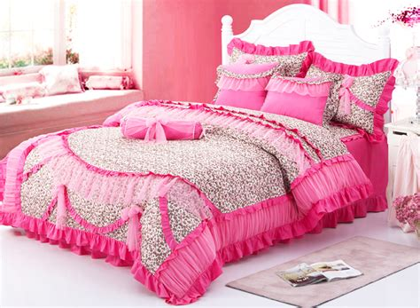 girls queen size bedding red leopard girls ruffled frilly tulle cotton full queen king size bedding in bedding sets from
