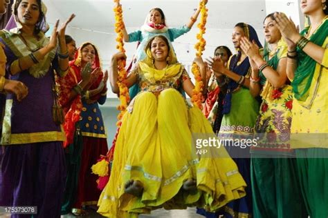 swing culture indian college girls wear traditional punjabi dress sit on