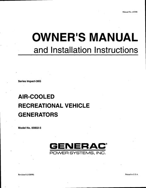 Generac Power Systems 00802-3 Portable Generator User