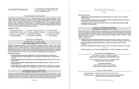 sle resume for a public relations manager monster com