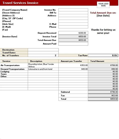 Travel Service Invoice Template   Printable Word, Excel