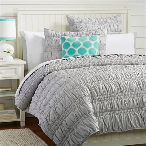 grey quilted comforter ruched quilt sham light gray pbteen