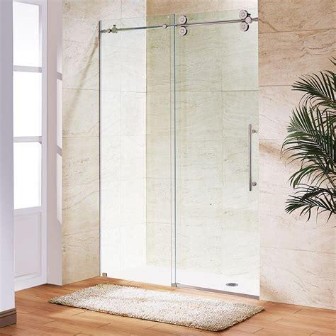 Stainless Steel Shower Doors Vigo Elan 52 In X 74 In Frameless Sliding Shower Door In