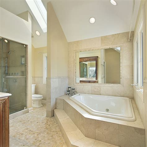18x18 tile in small bathroom crema marfil 18x18 honed finish marble tile