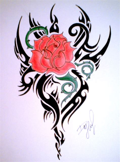 tribal tattoo with rose tribal and flower design