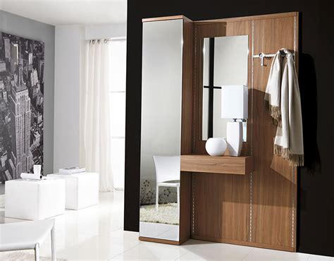 Unico Modern Hallway Storage System In Walnut With Mirrors Modern Hallway Furniture