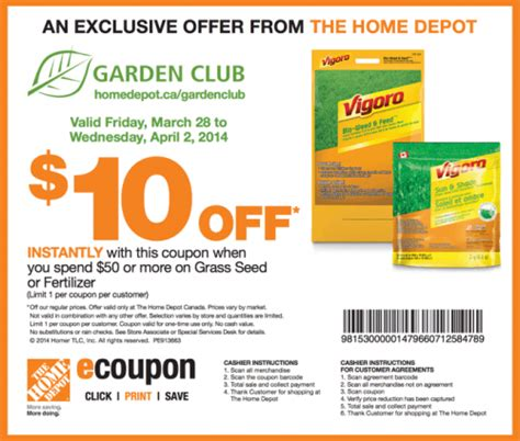 Gardeners Coupon by The Home Depot Garden Club Coupons Save 10 When You