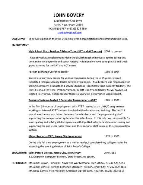 Resume Template Math Resume Exle Free Tutor Resume Sle Tutor Resume Objective Math Tutor