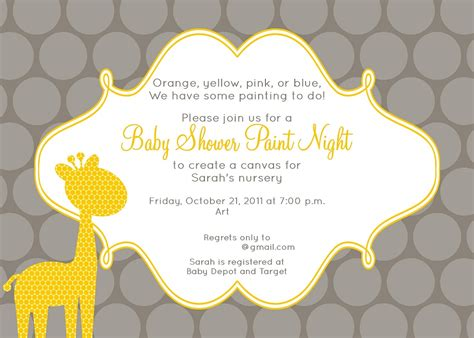 Best Baby Shower Invitation Template And Yellow Giraffe Print Plus Gray Yellow Two Colors Yellow And White Baby Shower Invitation Templates
