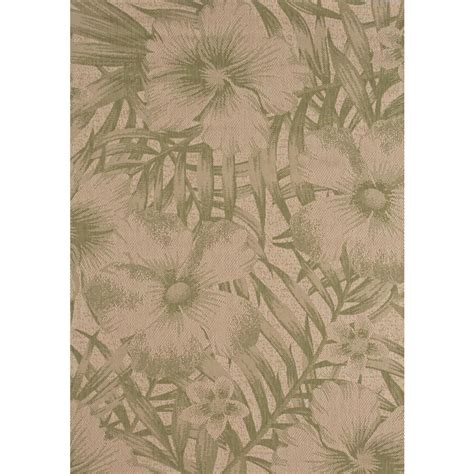 Hton Bay Tropical Blossom Green 5 Ft X 7 Ft Indoor Hton Bay Indoor Outdoor Rugs