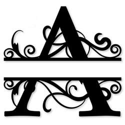 monogram letter die cut vinyl decal pv1320