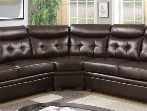 fake leather sectional 3022 sectional sofa in espresso faux leather