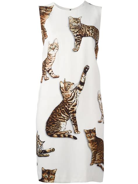 Guess Bengale dolce gabbana bengal cat print dress in white lyst