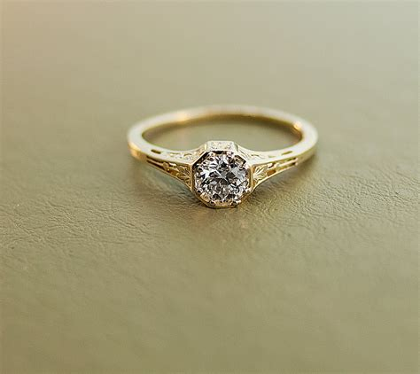 antique engagement ring 15k yellow gold and
