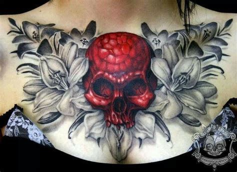 skull and flowers chest tat tat tatted