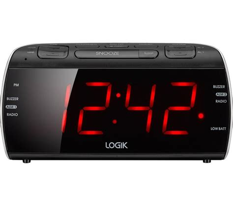 logik lcrb15 fm am clock radio black silver fast delivery currysie
