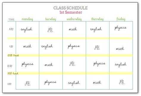 student schedule template student schedule template homework planner