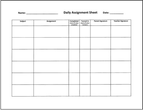 5 best images of blank student homework chart high