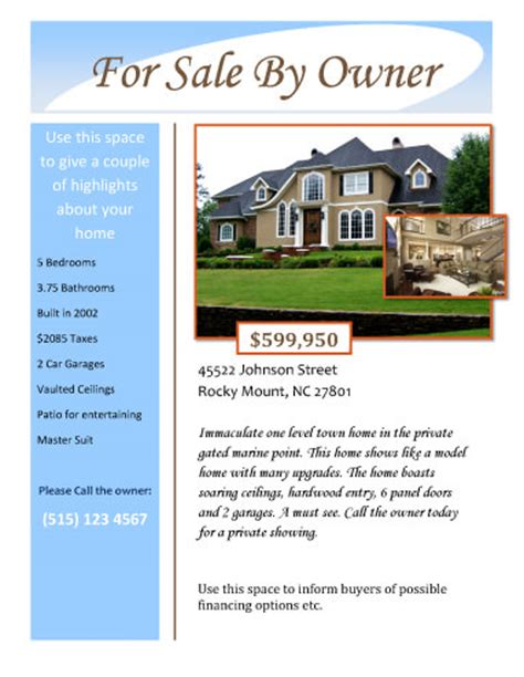 real estate for sale flyer template for sale by owner free flyer template by hloom