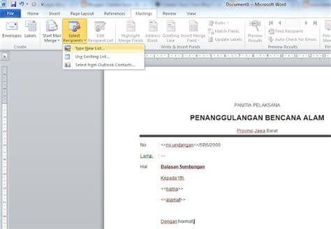 membuat mail merge surat gabung cara membuat surat dengan banyak nama dan tujuan dengan