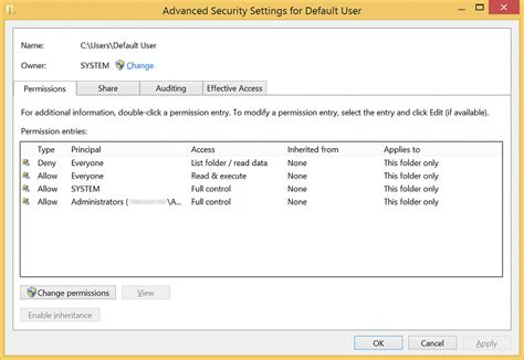 default setter c the default security settings of the quot default folder