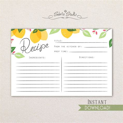 instant card downloads printable recipe card lemons 4x6 recipe cards instant