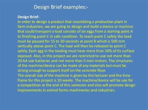 design brief in product design design brief for engineering design process