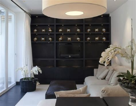 black feature wall living room black feature wall with black shelving hoppen interiors details built ins ceilings