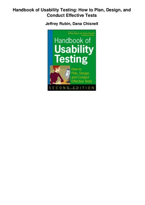 design effectiveness testing handbook of usability testing how to plan design and