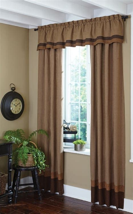 Curtain Valance Shades Of Brown Lined Border Curtain Valance