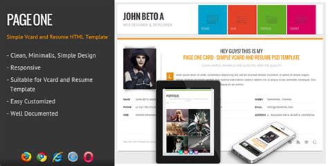 Page One Responsive Vcard Resume Html Template Your Best Themes Responsive Resume Template