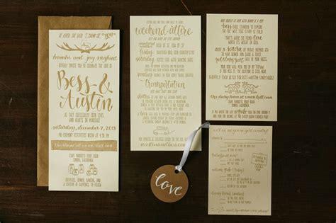 wedding invitation suite brown fox calligraphy