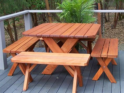 square redwood picnic table set gold hill redwood products