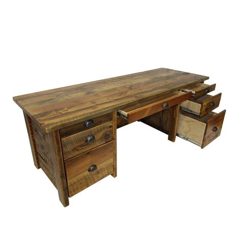 reclaimed wood office desk four corner furniture