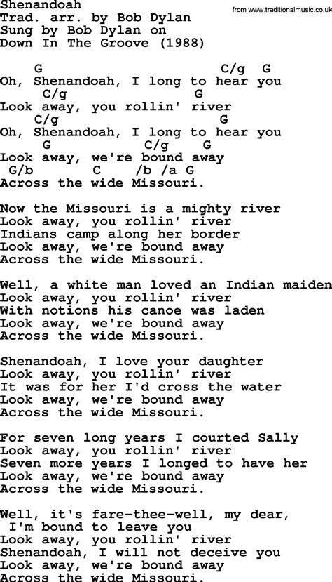 testo hurricane bob song shenandoah lyrics and chords