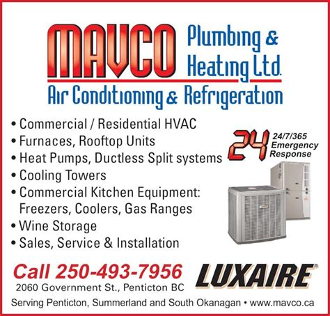 Bc Heating And Plumbing by Mavco Plumbing Heating Ltd Penticton Bc 2060