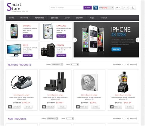 Smart Store Online Shopping Cart Mobile Website Template Store Web Template