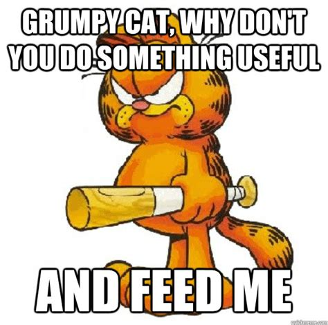 Garfield Memes - grumpy cat why don t you do something useful and feed me