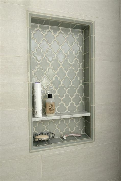 niche in bathroom smoke arabesque glass tile arabesque tile nooks and