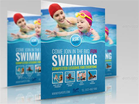 Swimming Lessons Flyer Template By Owpictures Graphicriver Swim Lesson Flyer Template Free