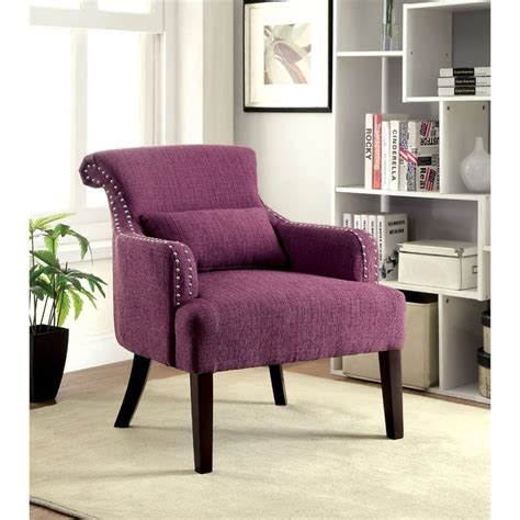 purple accent chairs living room furniture of america gabe upholstered accent chair in