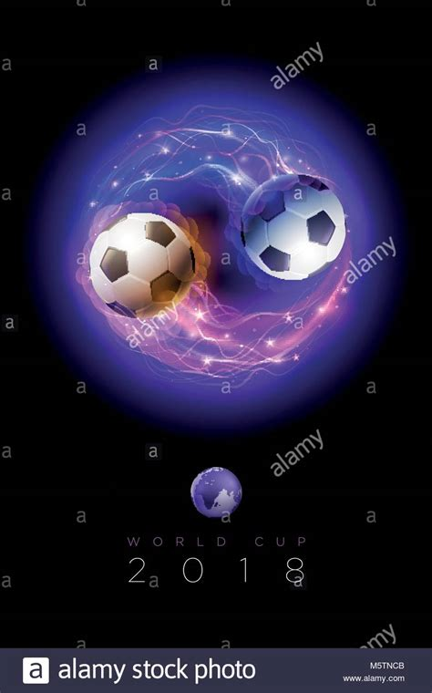 lights of the world 2018 soccer ball in flames and lights on black background