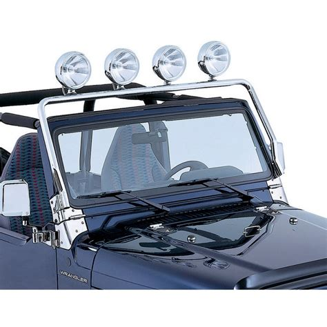 Jeep With Light Bar Rugged Ridge 11138 01 Frame Light Bar Stainless